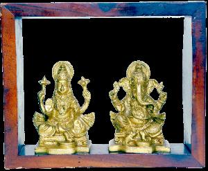 Laxmi/ Ganesh With Frame Brass Figure 4.5″