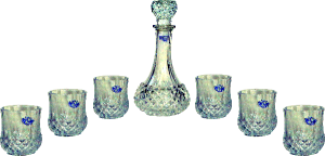 Crystal Decanter Set, 1 Bottle & 6 Glasses