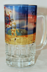 Designer Multi Colour Glass Beer Mug